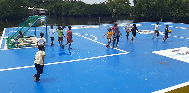 The pitch in Maluso on the island of Basilan is part of a community development project