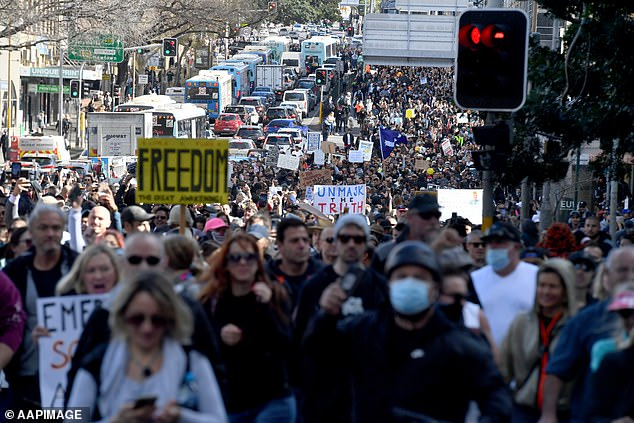 A huge number of anti-lockdown protesters are pictured in Sydney on July 24 with hostility about the reopening plan for the fully-vaccinated growing
