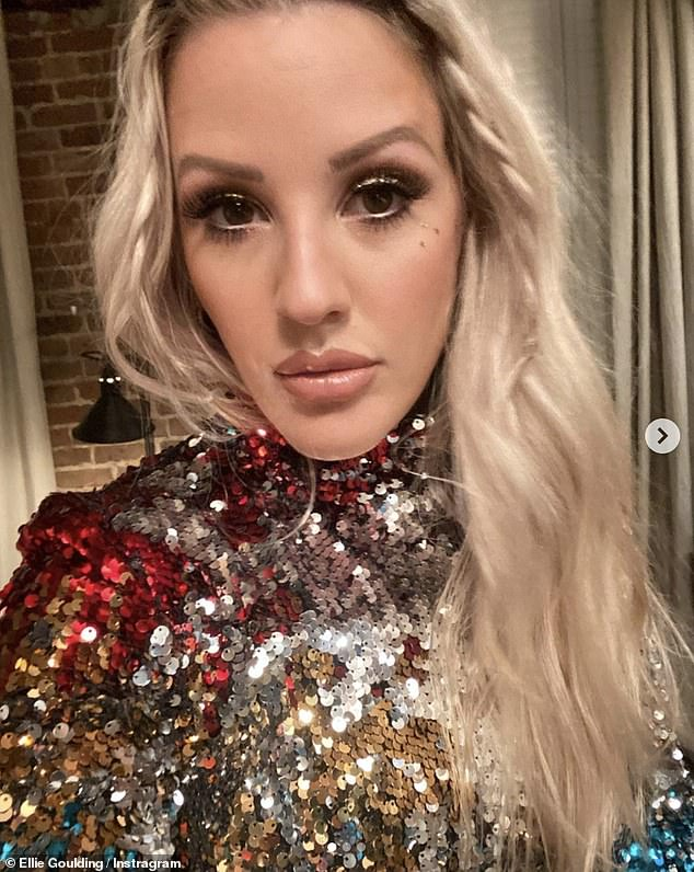 Mums out: Ellie Goulding went child free on Sunday evening as she posted a slew of snaps to Instagram from a party