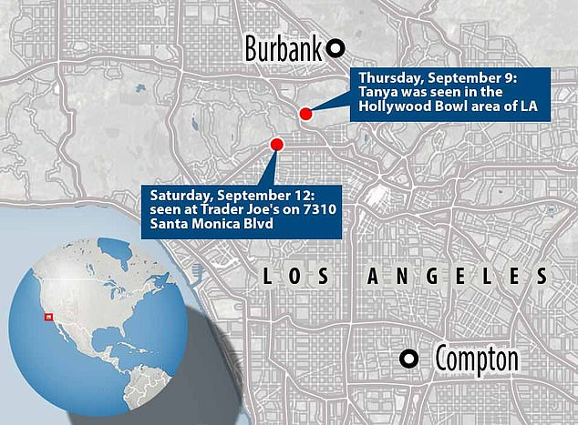 Reaching out: A map shows the different sightings of Tanya