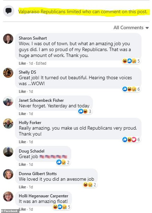 Backlash on the Valaparaiso GOP's Facebook page was such that the group limited comments on its posts and filtered out comments critical of the float