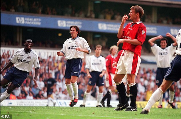 Sheringham's first United game was back at Spurs where he missed a penalty in a 0-0 draw