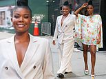 Gabrielle Union takes the plunge in baggy taupe suit before putting on a seriously leggy display