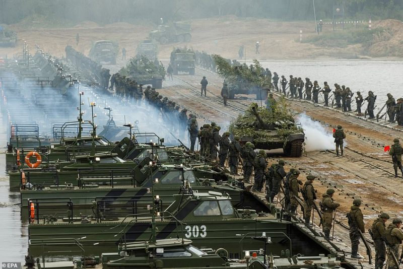 Thousands of troops and pieces of heavy machinery were featured in the exercises, which are due to end on September 16