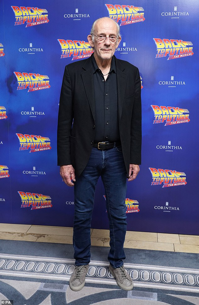 Doc: Christopher Lloyd led the stars at the Back To The Future press night at the Adelphi Theatre in London on Monday