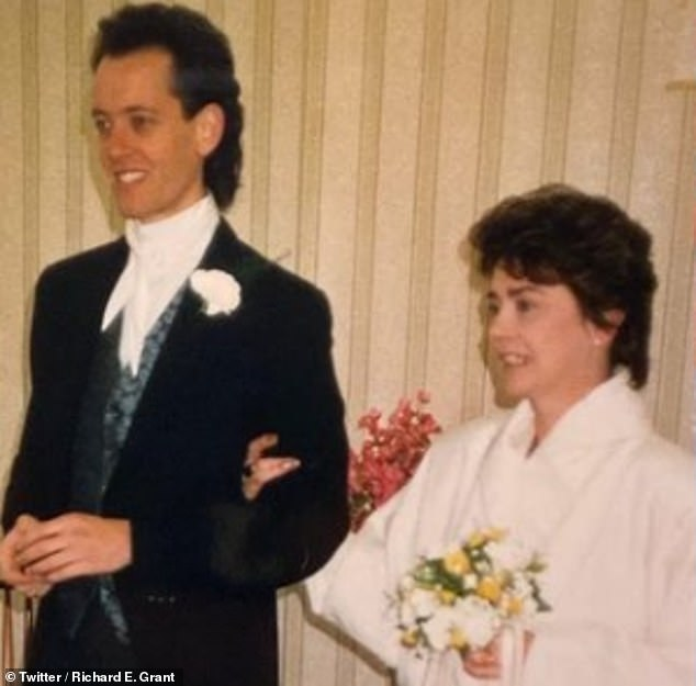 Mr and Mrs: Richard and Joan are pictured on their wedding day 35 years ago in a snap posted by the actor to mark their anniversary