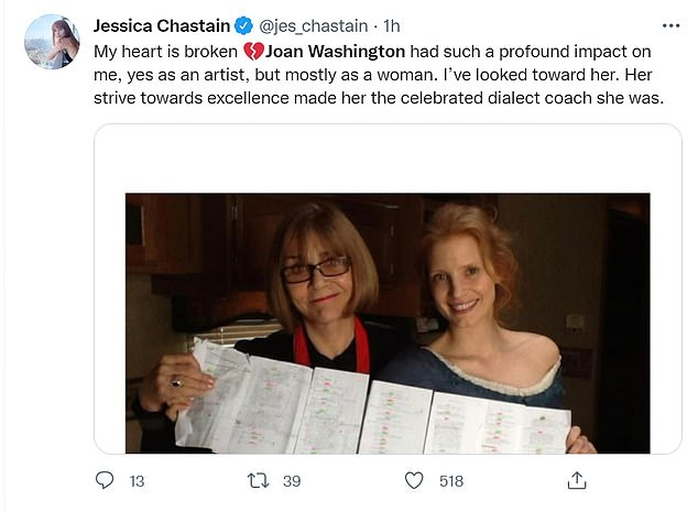 Hollywood star Jessica Chastain posted a tribute along with a picture of her and Joan holding what looked to be a script