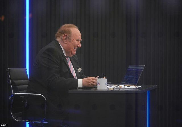 Pictured: Andrew Neil preparing to broadcast a show for GB News on June 13 earlier this year