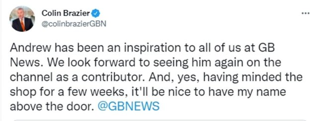 Former Sky News presenter Colin Brazier, who had been hosting Neil's show in his absence, confirmed that he would be taking over the role permanently