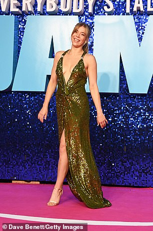 Fashion:The garment featured a sequined embellishment and a leg split while the hitmaker also wore a pair of open-toed heels