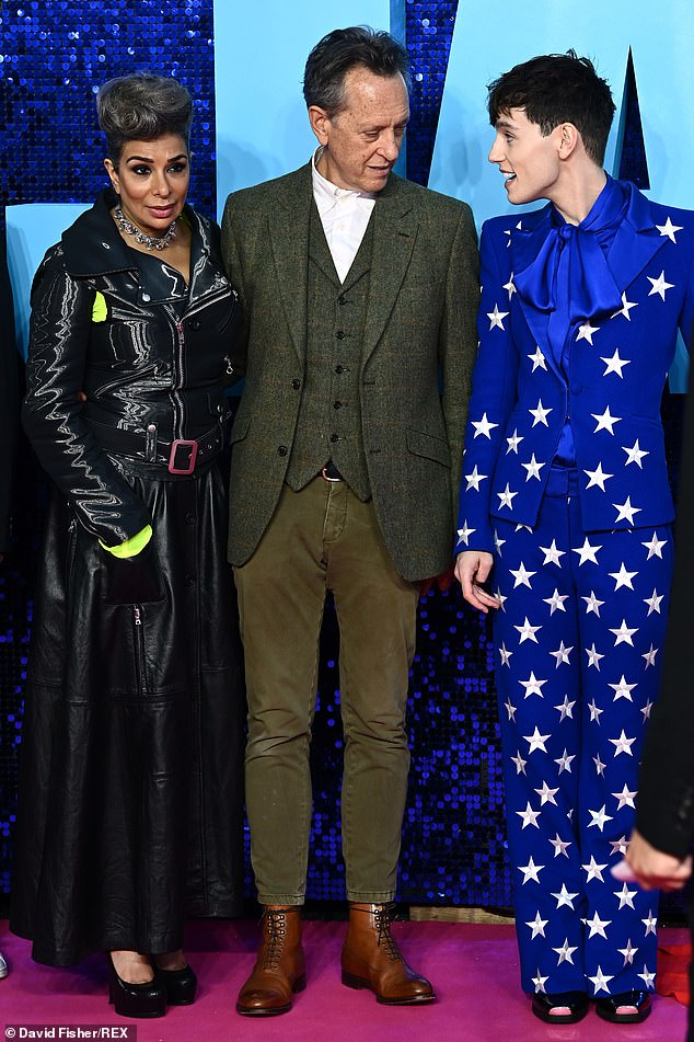 Cast: Richard posed for snaps alongside his co-starsShobna Gulati (left) and Max Harwood (right)