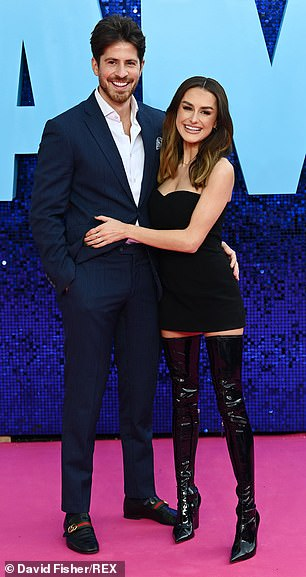 Reunited: Amber Davies arrived on the red carpet with boyfriend Nick Kyriacou who she was reported to have split from last month
