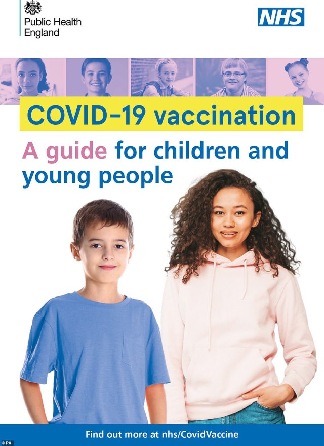 Public Health England last night published of a guide (pictured) to Covid-19 vaccination for children and young people