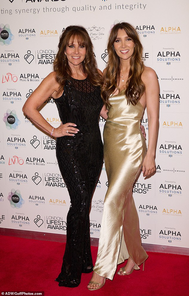 Sparkle and shine:Linda Lusardi, 62, wowed in a glittering jumpsuit as she joined lookalike daughter Lucy Kane, 25, at the London Lifestyle Awards at the Landmark Hotel on Monday