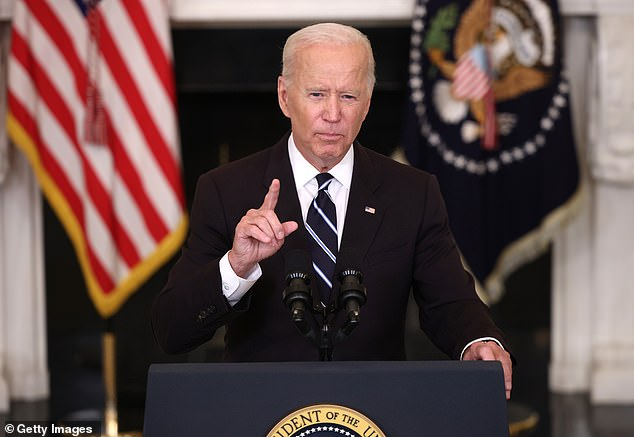 It comes after President Joe Biden announced a new series of mandates, including a requirement that all medical workers be vaccinated last week (above).