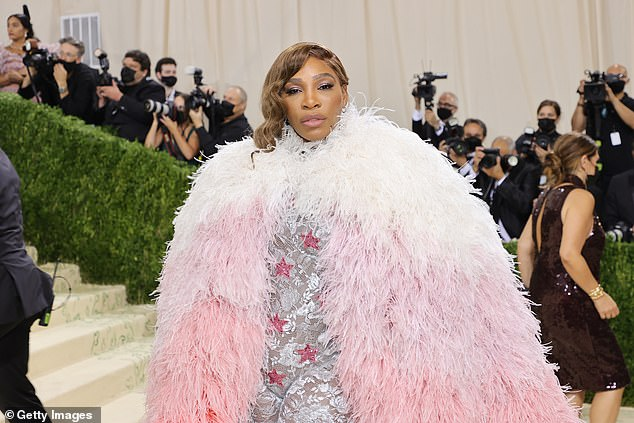 Gucci:Serena stepped out in a full Gucci ensemble, including a silver form-fitting body suit with red stars emblazoned on it