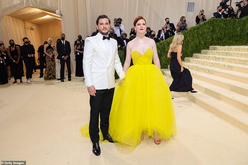Couple:Rose Leslie attended the star-studded event alongside her husband Kit Harington