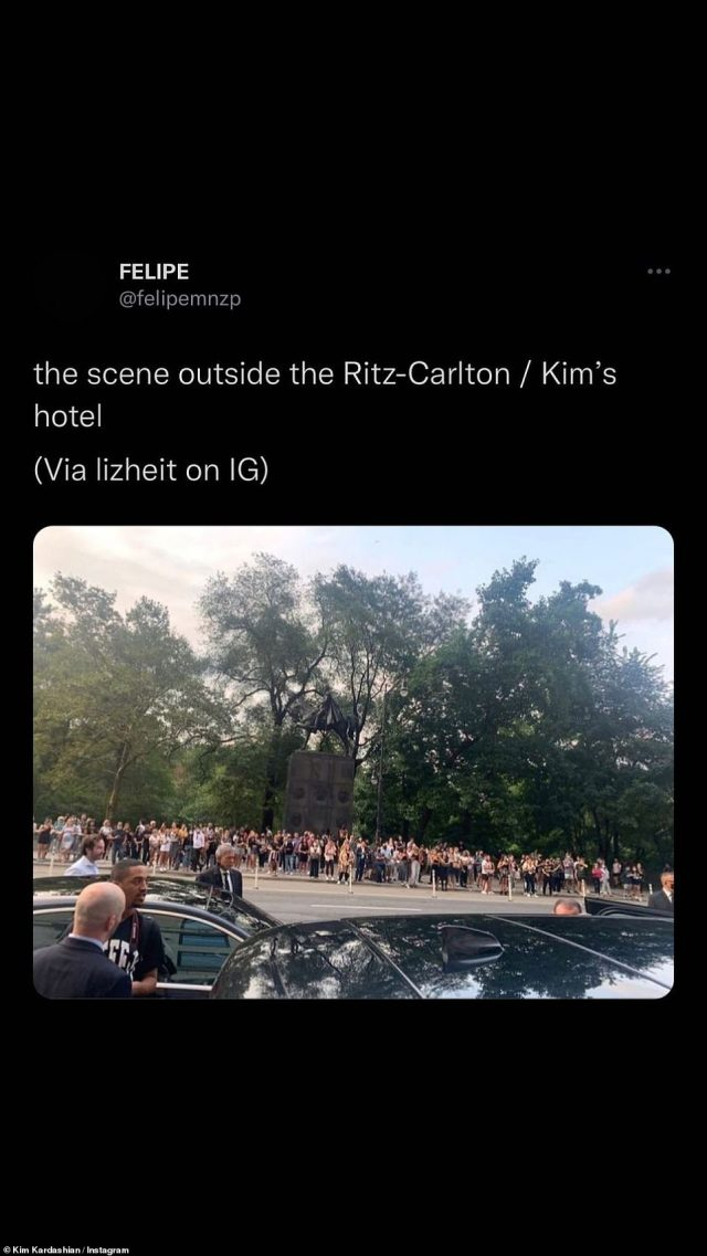 Epic: Kim took to her Instagram Story to share a repost of someone's photo of the chaos outside the Ritz-Carlton hotel when she left