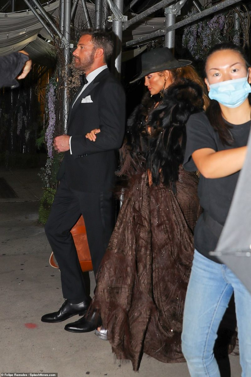 Power couple: Moments prior to her red carpet moment, Jennifer was seen leaving for the Met wit her boyfriend