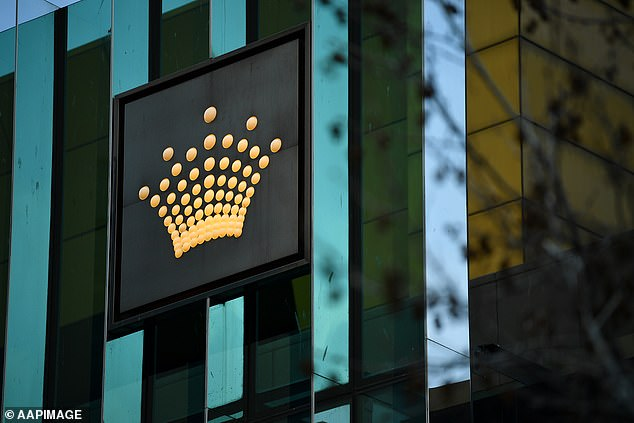 A staff survey showed that 60 per cent had already received at least one dose, and 63 per cent supported mandatory vaccination for hospitality workers (pictured, Crown Casino in Melbourne)