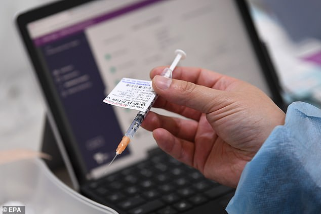 Crown Resorts and Crown Melbourne boss Steve McCann also urged staff to get vaccinated (pictured, a dose of a Covid-19 vaccination)