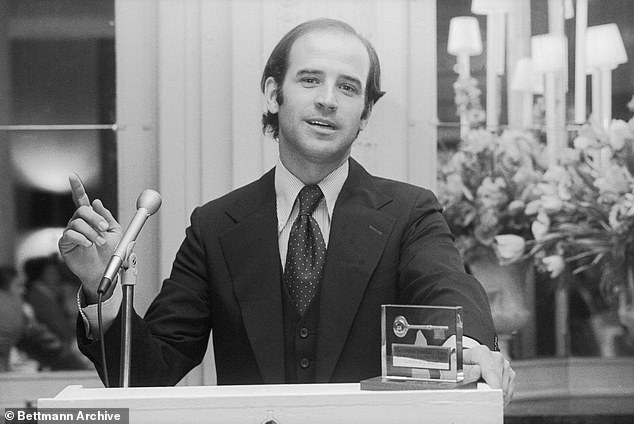 It is far from the only embarrassing racial incident from Biden's half-century career in politics. Above, Biden is seen in the early 1970s, when he was the youngest US senator