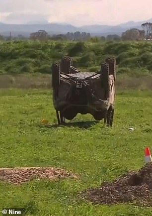 The overturned buggy after the crash