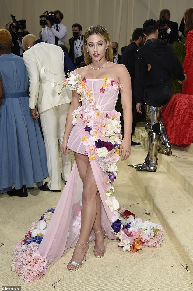 Designer darling:Reinhart, best known for her role on the CW's Riverdale, had her Met Gala look designed by Project Runway alum Christian Siriano