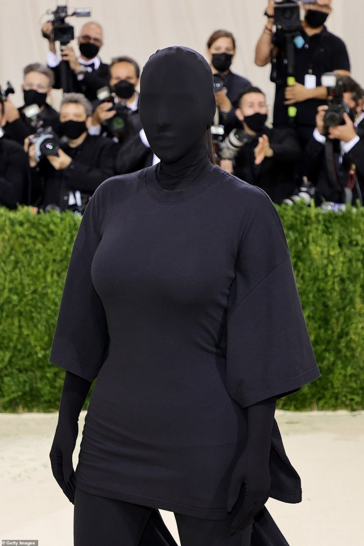 Unique: Every inch of Kim's skin was covered in fabric, including a balaclava, gloves
