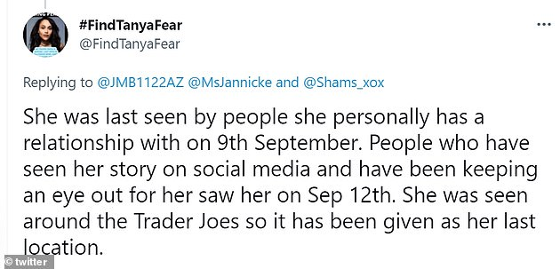 Clarification:One of the authors behind the Twitter page explained she was last seen by those known to her on Thursday, while the sighting on Sunday was from a stranger attempting to assist in the search