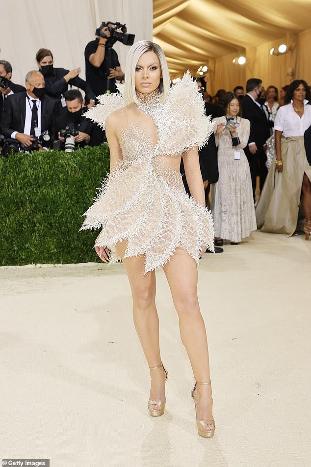 Beautiful: For her fun night out, the Oscar nominee slipped into a very short Iris Van Herpen couture minidress, which showed her incredibly toned legs