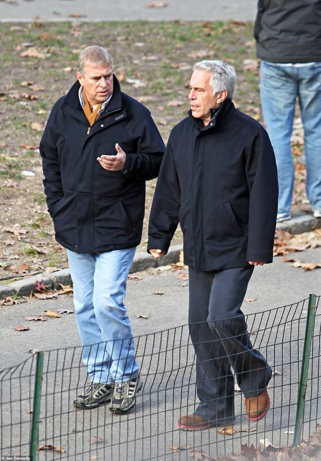 Prince Andrew walking with Jeffrey Epstein in Central Park, New York City in 2011 after the friends left Epstein's home in Manhattan