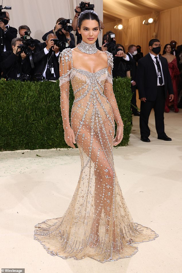 Sheer wonder:Fans of old Hollywood were quick to recognize the inspiration for Kendall's frock, which appeared to be a sexy version of Audrey Hepburn's ball gown from My Fair Lady