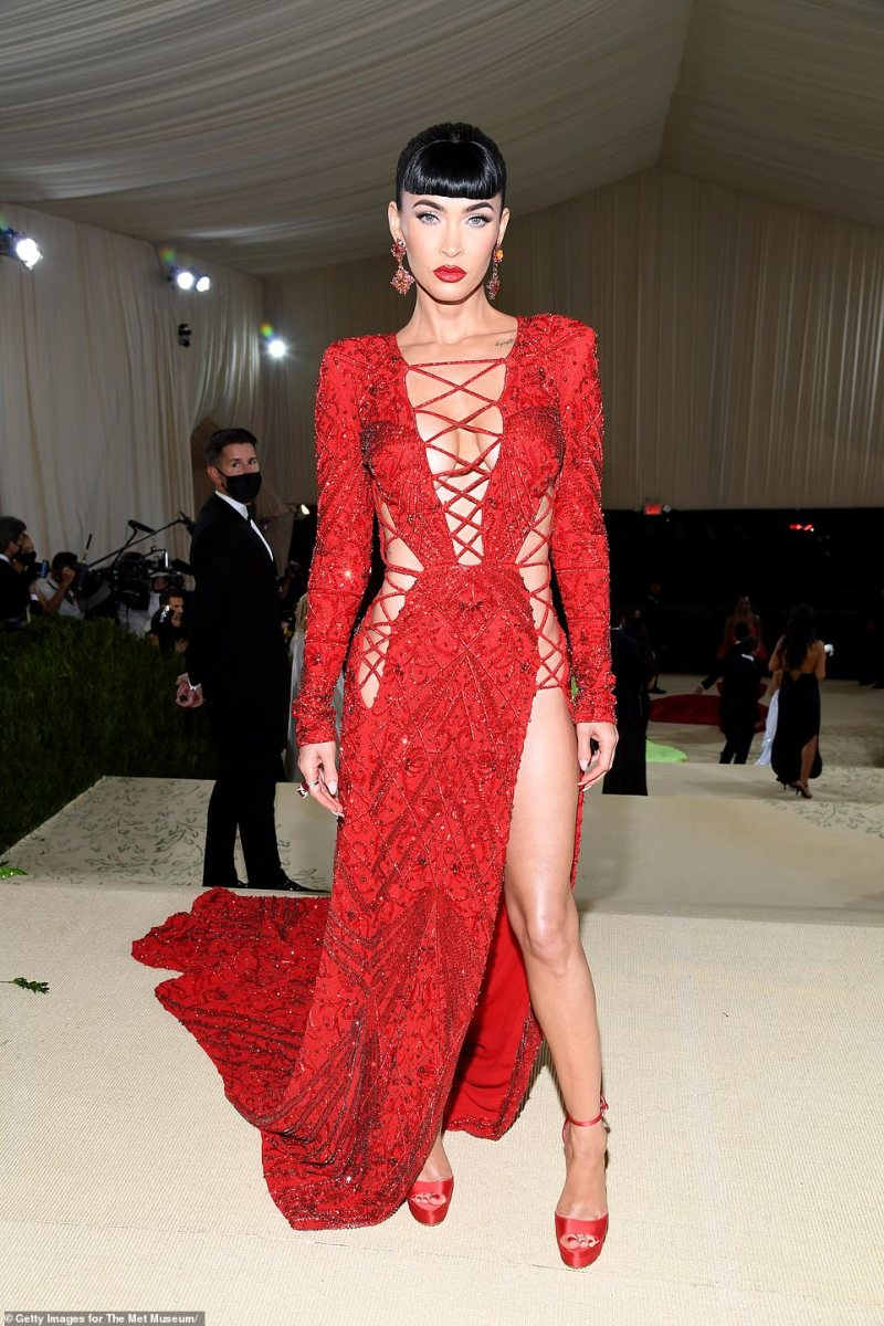 Many fashionistas and A-list stars went all out with bold, beautiful and some truly bizarre looks as they reveled in the spotlight, including actress Megan Fox, who wore a revealing scarlet encrusted gown