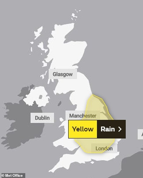 The Met Office has issued a yellow weather warning for large parts of the country today