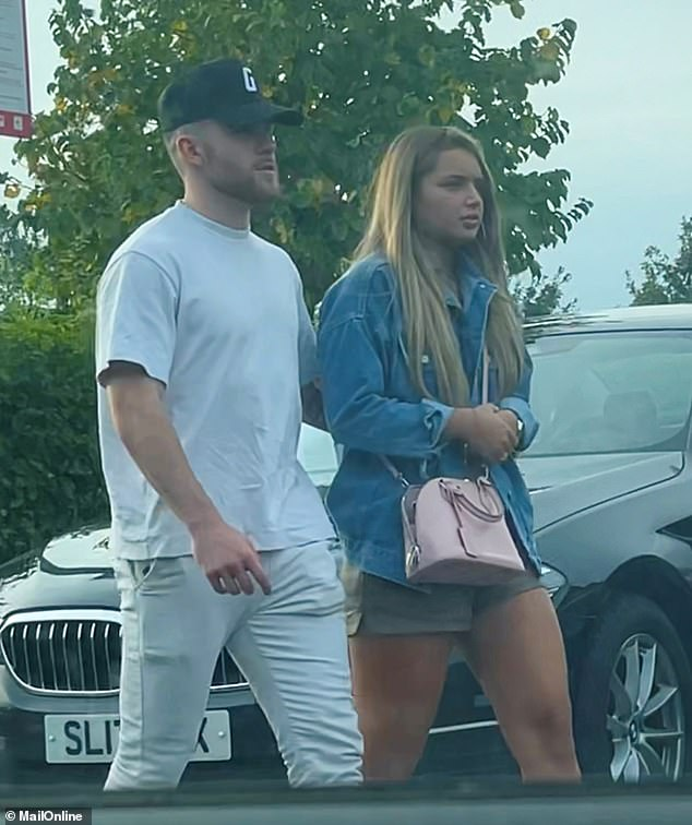 The boyfriend: The former islander, who told MailOnline in July that 'the ship has definitely sailed' between himself and Aaron, was seen with the Brighton footballer in Cobham, Surrey on Sunday.