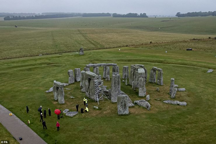 A scaffold is erected inside the stone circle as specialist contractors from SSH Conservation fix defects from previous repairs