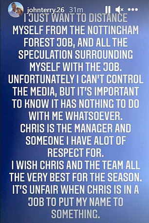However, the ex-Chelsea defender released a statement on Tuesday distancing himself from the job