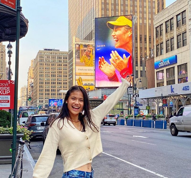 Experts believe the sky's the limit for Emma Raducanu, pictured in New York yesterday in front of her new Nike advert, with China jostling to claim the Briton as their own and could offer her the honour of naturalised status