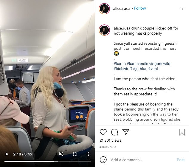 The woman who filmed the incident said the woman was 'wobbling around' and drank a boomerang cocktail before boarding the flight without properly wearing her face mask