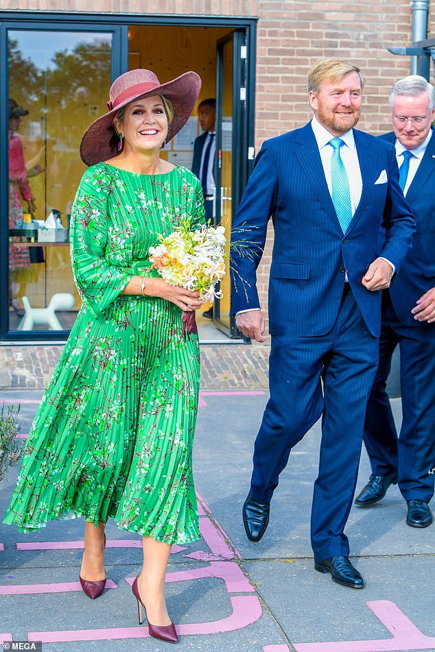 Queen Maxima of the Netherlands stunned in a gorgeous green dress today as she joined her husband King Willem-Alexander at Saeland