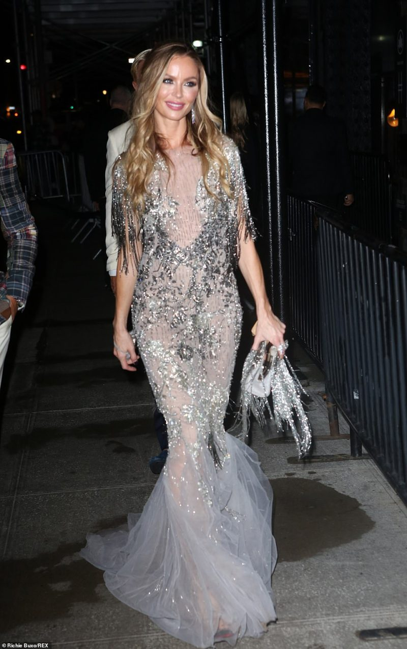 Looking lovely: Arriving to the Standard shortly after Karlie was designer Georgina Chapman, who donned a beautiful bejewelled gown