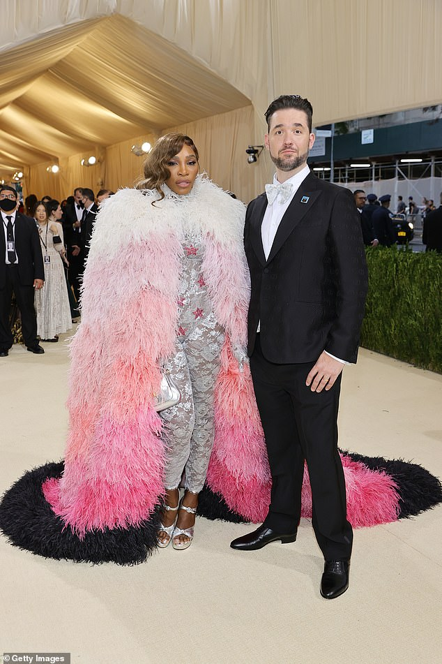 Serena Williams went to the Met Gala as an unkempt sheep, donning a feathered black, pink and white jacket with a silver lace jumpsuit for the Met Gala; she arrived with her husband Alexis Ohanian