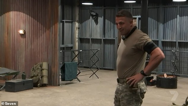 Turning on the charm: Sam Burgess couldn't resist flirting with Erin Holland during what can only be described as an awkward exchange on Tuesday's episode of SAS Australia