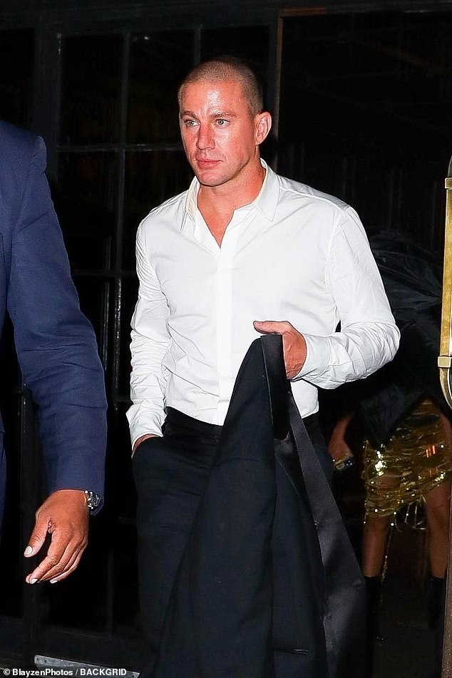 Heavy night?Channing followed along behind the ladies, having removed his tuxedo jacket, stripped down to his shirt sleeves, bowtie removed