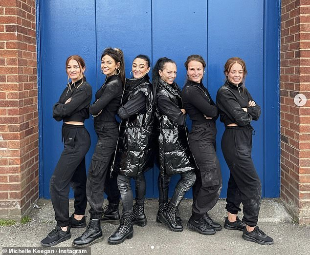 Seeing double: The actress is shooting series four of the hit Sky show in Manchester and shared several pictures of her look-alike on Instagram