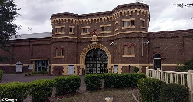 Darko Desic used a metal hacksaw to cut through the bars on his jail cell windows at Grafton prison (pictured) before stealing boltcutters from a shed to get through the fence to freedom