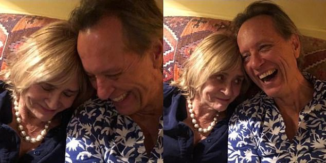 Happy: Last year Richard posted pictures of the pair celebrating their 34st wedding anniversary on his social media pages