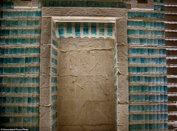 The structure – known as the South Tomb – is largely underground and includes a labyrinth of corridors, decorated with hieroglyphic carvings and tiles.