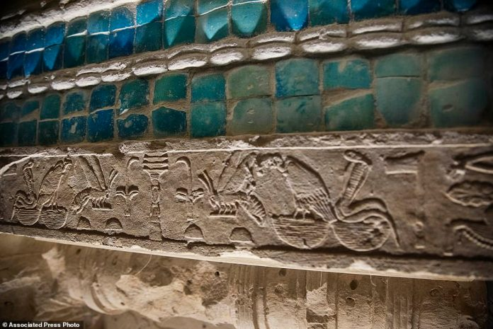 Painted are some of the intricate hieroglyphs that line the inner walls of the huge South Tomb